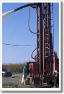 Northern California well driller hits water.
